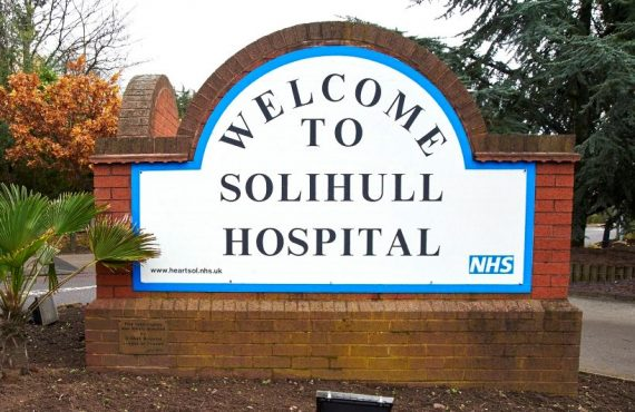This image shows a sign with welcome to solihull hospital on it